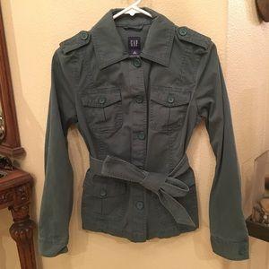 GAP Cargo Army Green Jacket w/ Tie Size Small
